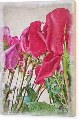 Roses In White Wood Print by Joan  Minchak