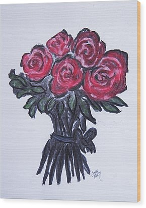 Roses Wood Print by Serene Maisey