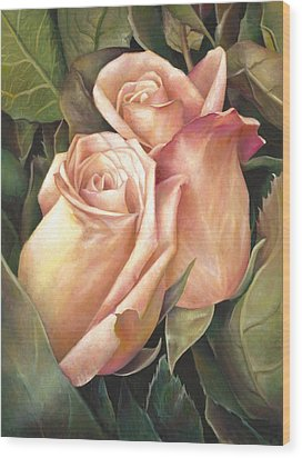Wood Print featuring the painting Rosey Embrace by Nancy Tilles