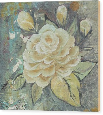 Wood Print featuring the painting Rosey by Kathy Sheeran