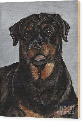 Wood Print featuring the painting Rottweiler  by Nancy Patterson