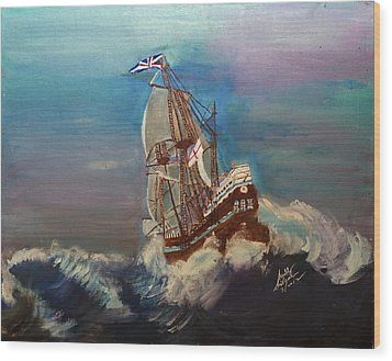Wood Print featuring the painting Rough Seas by Swabby Soileau