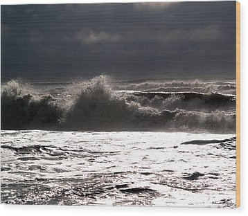 Rough Waves 2 Wood Print by Deborah Hughes