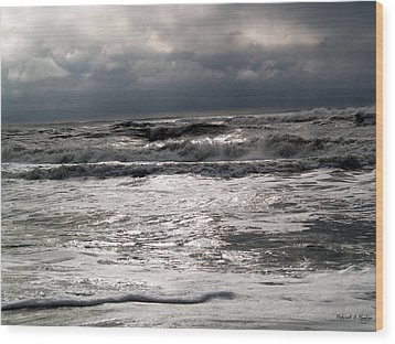 Rough Waves 3 Wood Print by Deborah Hughes