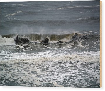 Rough Waves 4 Wood Print by Deborah Hughes