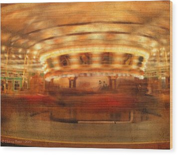 Round And Round Goes The Dentzel Carousel At Glen Echo Park Md Wood Print