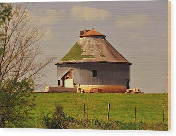 Round Barn Wood Print by Marty Koch