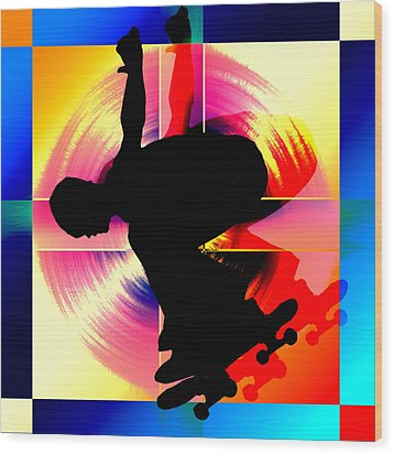 Round Peg In Square Hole Skateboarder Wood Print by Elaine Plesser