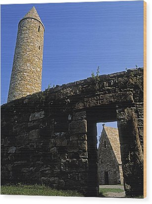 Round Tower And Chapel, Ulster History Wood Print by The Irish Image Collection
