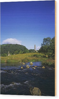 Round Tower And River In The Forest Wood Print by The Irish Image Collection