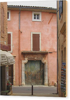 Roussillon Painted Door Wood Print by Carla Parris