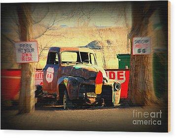 Route 66 Parking Lot Wood Print by Susanne Van Hulst