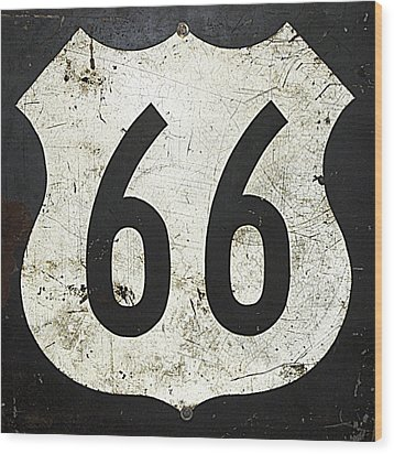 Route 66 Road Sign Wood Print by Cheri Randolph