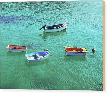 Row Boats On Turquoise Water Wood Print by Leniners