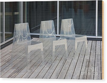 Row Of Modern Translucent Chairs Wood Print by Jaak Nilson