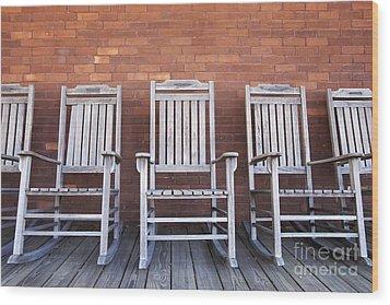 Row Of Rocking Chairs Wood Print by Skip Nall