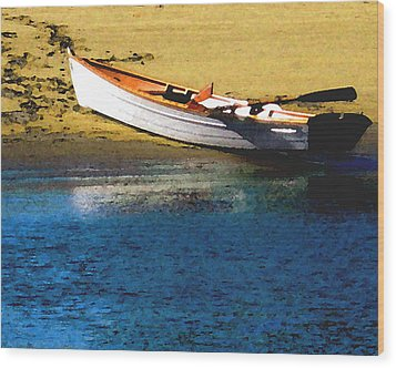 Rowboat At Mother's Beach Wood Print by Timothy Bulone