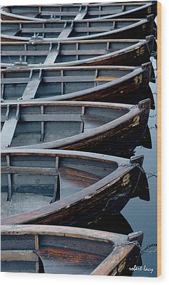Rowboats Wood Print by Robert Lacy