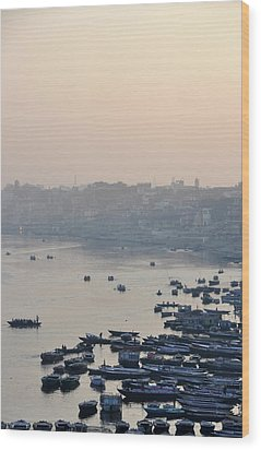 Rowing Boats On Ganges River Wood Print by Jessica Solomatenko