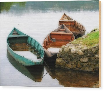 Wood Print featuring the photograph Rowing Boats Out Of Season by Rod Jones