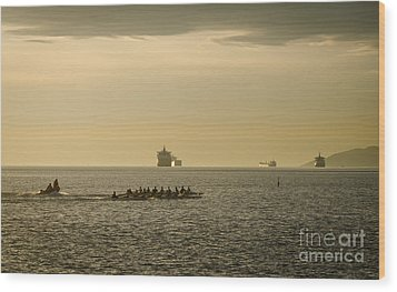 Rowing Training Off Sunset Beach Park False Creek Vancouver Bc Canada Wood Print by Andy Smy