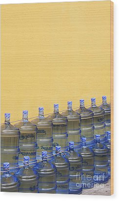 Rows Of Water Jugs Wood Print by Jeremy Woodhouse
