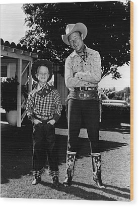 Roy Dusty Rogers Jr., And His Father Wood Print by Everett