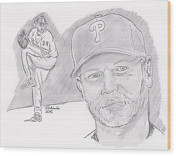 Wood Print featuring the drawing Roy Halladay by Chris  DelVecchio