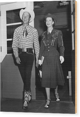 Roy Rogers, And His Wife Dale Evans Wood Print by Everett
