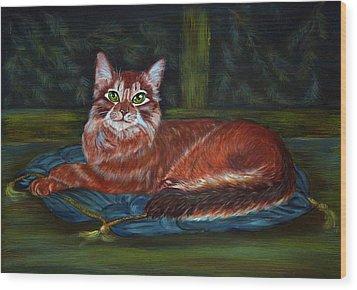 Royal Cat Wood Print by Elena Melnikova