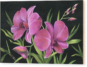 Wood Print featuring the painting Royal Pink Orchids by Nancy Tilles