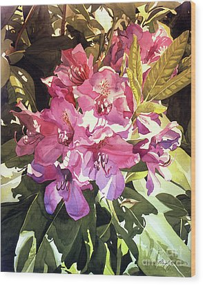 Royal Rhododendron Wood Print by David Lloyd Glover
