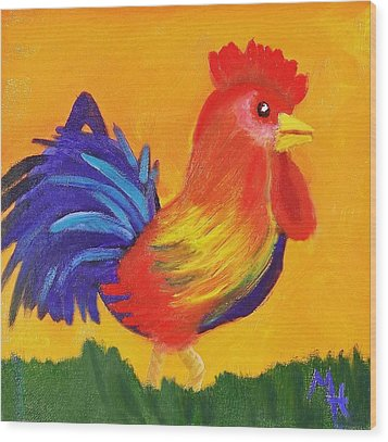 Wood Print featuring the painting Royal Rooster by Margaret Harmon