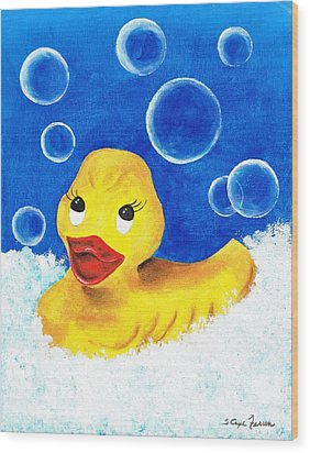 Rubber Ducky Wood Print by Sarah Farren