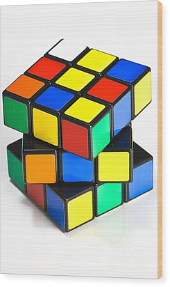 Rubiks Cube Wood Print by Photo Researchers