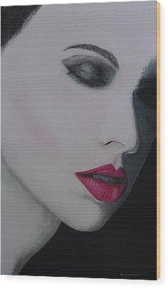 Ruby Lips Wood Print by David Hawkes