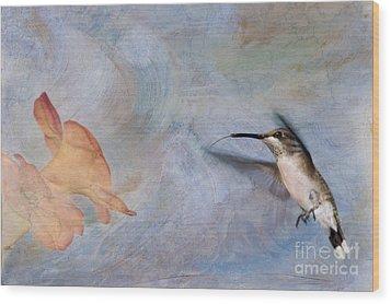 Ruby Throated Hummingbird 2 Wood Print by Betty LaRue