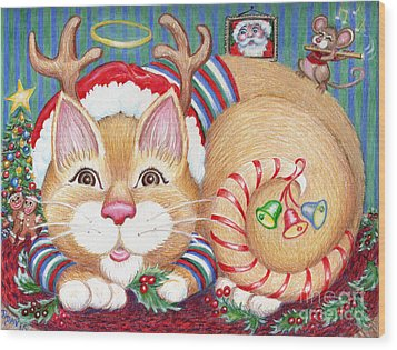 Wood Print featuring the drawing Rudolph The Pink Nosed Dear Cat by Dee Davis