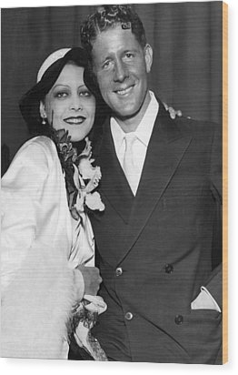 Rudy Vallee Right, And His Wife, Fay Wood Print by Everett