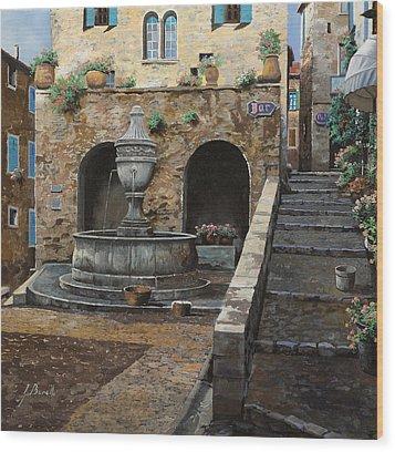Rue Du Bresc A St Paul De Vence Wood Print by Guido Borelli