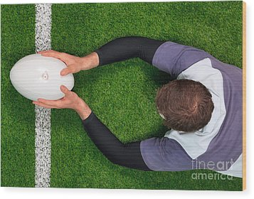 Rugby Player Scoring A Try With Both Hands. Wood Print by Richard Thomas