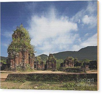 Ruins Of Hindu Temples Wood Print by Skip Nall