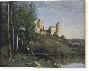 Ruins Of The Chateau De Pierrefonds Wood Print by Jean Baptiste Camille Corot