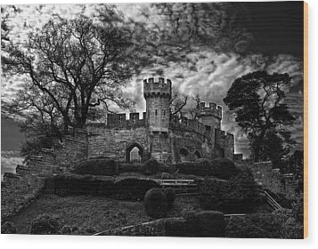 Ruins Of Warwick In Black And White Wood Print by Laura George