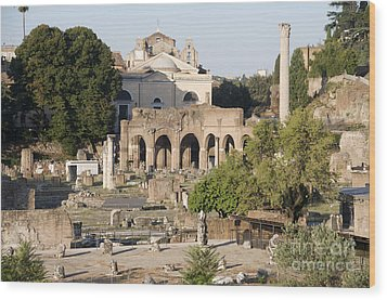 Ruins. Roman Forum Wood Print by Bernard Jaubert