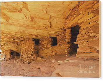 Ruins Structures Wood Print by Bob and Nancy Kendrick