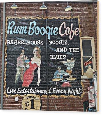 Rum Boogie Cafe Wood Print by Jo Sheehan