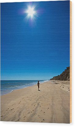 Run On The Beach Wood Print by Mike Horvath