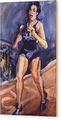 Wood Print featuring the painting Runner by Les Leffingwell