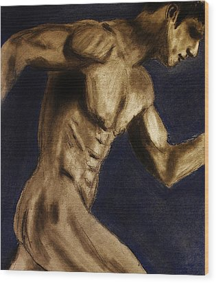 Wood Print featuring the drawing Running Man by Michael Cross